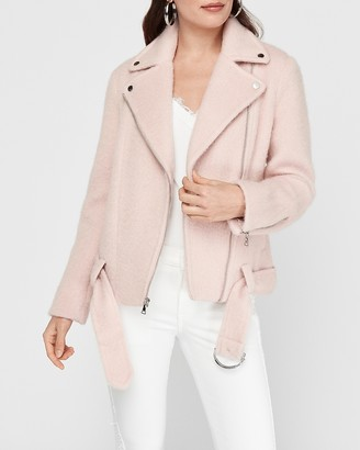 Express Boxy Wool-Blend Belted Moto Jacket