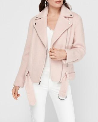 Express Boxy Wool-Blend Belted Moto Jacket