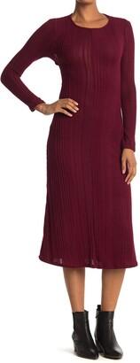 Velvet Torch Keyhole Back Ribbed Long Sleeve Midi Dress