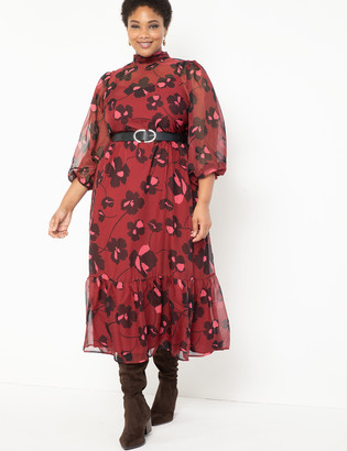 ELOQUII Sheer Maxi Dress With Puff Sleeves
