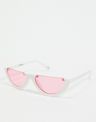 Jeepers Peepers cat eye sunglasses in white with pink lens
