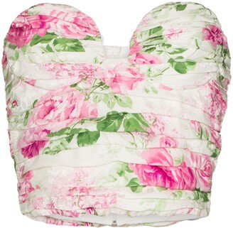 Magda Butrym Rose Print Bustier Top