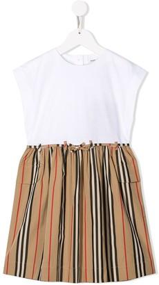 BURBERRY KIDS TEEN contrast-panel shift dress