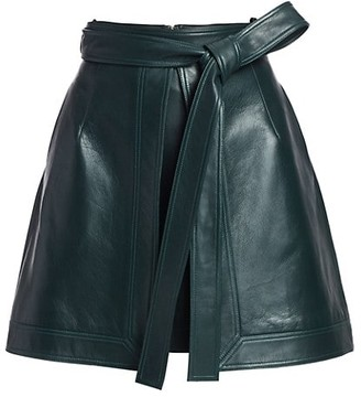 Oscar de la Renta Leather Front-Vent Mini A-Line Skirt