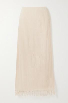 Savannah Morrow The Label The Jaya Fringed Crinkled Organic Cotton-gauze Maxi Skirt - Cream