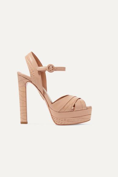Aquazzura Coquette 140 Croc-effect Leather Platform Sandals