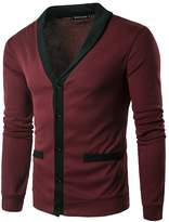 Fuiigo Mens Fashion Slim Fit Open Front Long Sleeve Sweater Cardigan Multicolor L