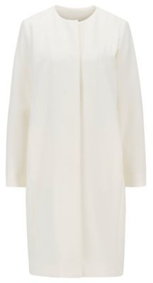 HUGO BOSS Collarless Coat In Double Faced Stretch Fabric - White