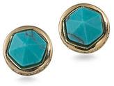 Lauren Ralph Lauren Match Point Reconstituted Turquoise 12K Gold-Plated Round Stud Pierced Earrings