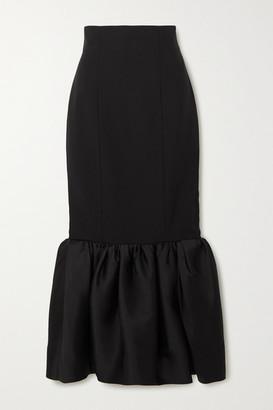 SOLACE London Eska Ruffled Crepe And Satin Maxi Skirt - Black