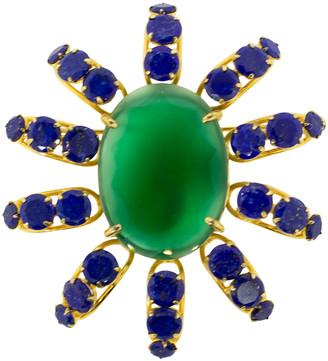 Bounkit Lapis and Green Onyx Sunray Pin