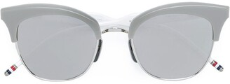 Thom Browne Silver Titanium & Grey Acetate Sunglasses