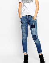 Pepe Jeans Patchwork Slim Jean With Roll Hem