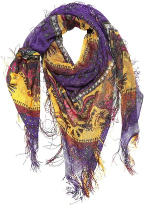 Etro Goa Printed Silk Scarf W/ Fringes