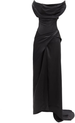 Vivienne Westwood Dione Draped Off-the-shoulder Satin Gown - Black