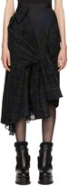 Sacai Navy Flannel Plaid Skirt