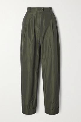 Stine Goya Laia Pleated Taffeta Tapered Pants - Army green