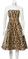 Monique Lhuillier Strapless Abstract Print Dress