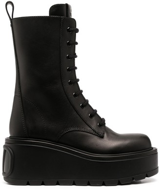 Valentino Platform Wedge Lace-Up Boots