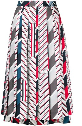 Thom Browne Repp stripe tie collage silk skirt