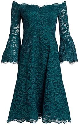 Teri Jon By Rickie Freeman Bell Sleeve Off-The-Shoulder Lace Dress