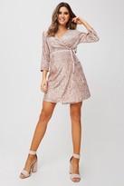 Little Mistress Shelley Mink Velvet Sequin Wrap Dress