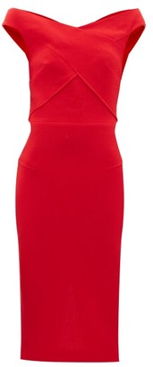 Roland Mouret Amarula Off-the-shoulder Wool-crepe Dress - Womens - Red