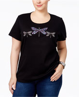 Karen Scott Plus Size Cotton Dragonfly Graphic T-Shirt, Only at Macy's