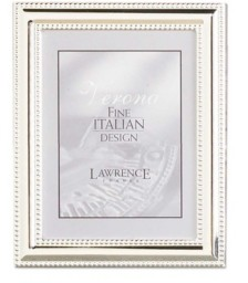 """Lawrence Frames Metal Picture Frame Silver-Plate with Delicate Beading - 4"""" x 5"""""""