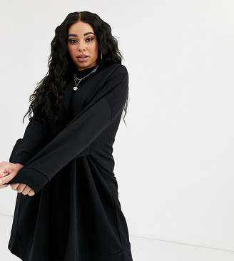 Asos DESIGN Curve oversized sweat dress in black