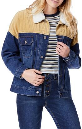 UNIONBAY Juniors' Corduroy Trim Denim Jacket