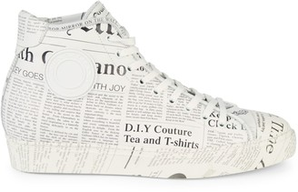 John Galliano Gazette Newspaper Print High-Top Sneakers