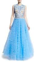 Naeem Khan Sleeveless Embroidered-Bodice Ball Gown, French Blue