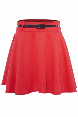 Fashion Star Women Sexy Party Belted Skater Plain Mini Skirt Red S/M (UK 8/10)
