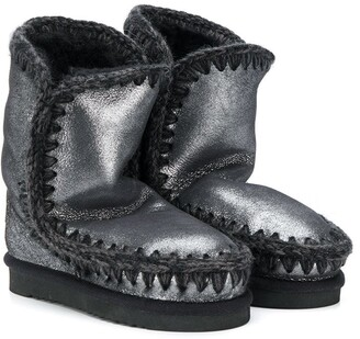 Mou Kids Metallic Suede Boots