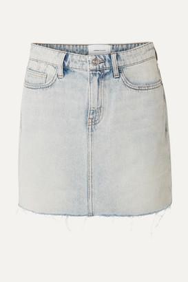 Current/Elliott The Five Pocket Frayed Denim Mini Skirt - Light denim