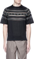 kolor Tribal intarsia mesh trim short sleeve sweater