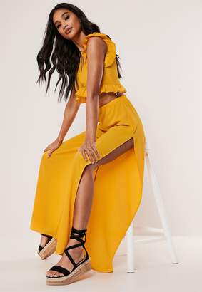 Missguided Yellow Co Ord Split Wide Leg Trousers