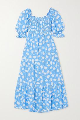 Faithfull The Brand Olinda Shirred Floral-print Crepe Midi Dress - Blue