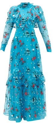 Erdem Horacia Embroidered-organza Gown - Blue Multi