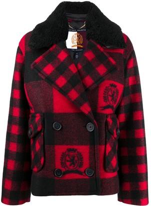 Tommy Hilfiger Emblem-Print Gingham Coat