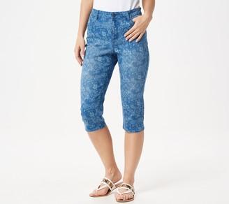 Susan Graver Printed High Stretch Denim Pedal Pusher Jeans