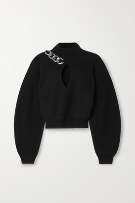 Alexander Wang Cropped Chain-detailed Cutout Wool-blend Turtleneck Sweater - Black