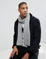Polo Ralph Lauren Player Ribbed Scarf Merino Wool In Light Grey Marl