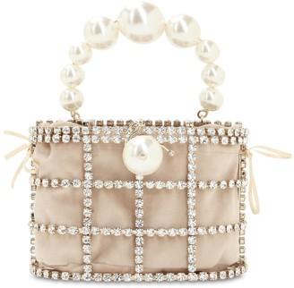 Rosantica Holli Crystal & Pearl Box Top Handle Bag