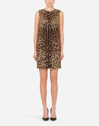 Dolce & Gabbana Short Leopard-Print Cady Dress