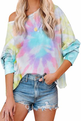 Laz Women's Long Sleeve Tie Dye Printed Casual Sweatshirts Hoodies Pullover Jumpers Tops T Shirts (#04-Purle-Blue Small)