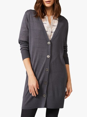 Phase Eight Lalou Longline Button Knit Cardigan, Graphite