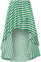 Caroline Constas Adelle Asymmetric Striped Cotton-gauze Wrap-effect Midi Skirt - Green