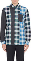 Lanvin Men's Patchwork Cotton-Blend Poplin Shirt
